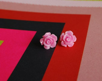 Pink Rose Earrings -- Light Pink Rose Studs, Flower Studs, Flower Earrings, Pink Flower Earrings