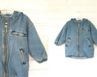 Vintage 80s hooded denim plaid toddler kids coat Osh kosh 3T