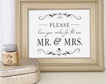printable wedding well wishes sign wedding reception sign well wishes for the mr and