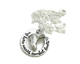 My Hero Wears Combat Boots - Soldier Necklace - Wife Of A Soldier - Custom Necklace- Hand Stamped Jewelry - Personalized Engraved Jewelry