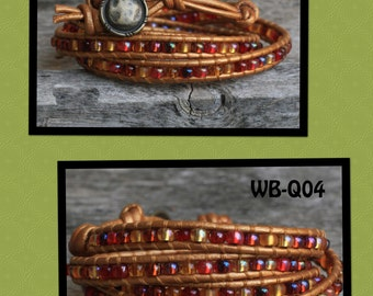 WB-Q04 quad beaded wrap bracelet - 2mm gold colored leather with cranberry harvest glass bead mix