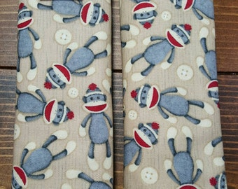 Reversible TODDLER Car Seat Strap Covers Sock Monkeys Cotton in Taupe with Red Dimple Cuddle Minky Unisex Baby Accessories ITEM #073