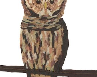 Batik Fabric Collage Original Art Wise Owl