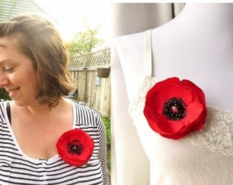 Fabric Poppy Red Brooch Poppy Pin, Red Poppies Silk Flower Pins, Large Silk Flower Brooch, Broach, Red and Black, Summer Brooches with Beads