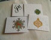 Set of 4 Christmas handmade embossed and die cut cards