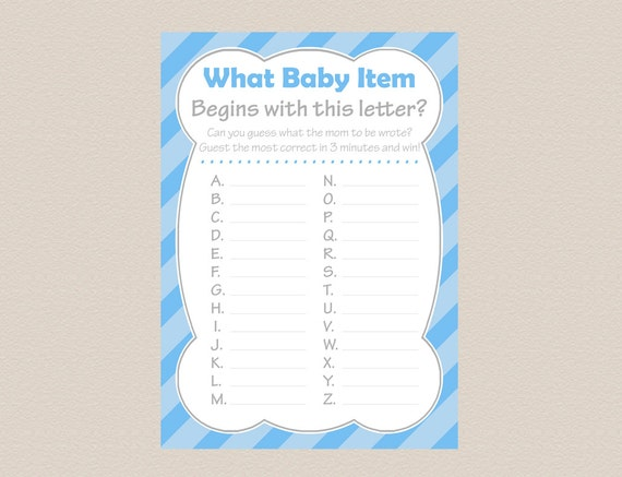Baby Shower What Item Begins With This Letter Instant