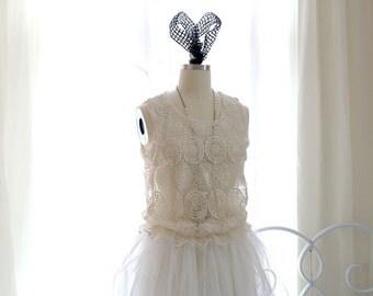 Bohemian Romantic Beige Lace White Tutu Dress Top Blouse , Gypsy Shabby Boho Clothing Princess Clothing Angel