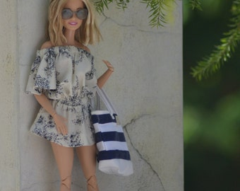 MADE TO ORDER - Off-shoulder Mini-Dress in Sophia Print for 1:6 Fashion Dolls