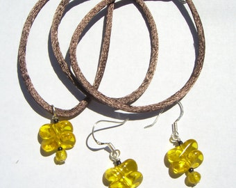 Honey Glass Butterflies - Necklace and Earrings