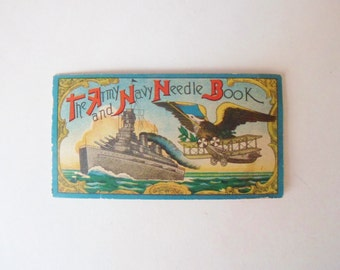 Army Navy Needle book, Wartime Sewing Needles, Sewing Needle Card, Battleship Warplane and Eagle