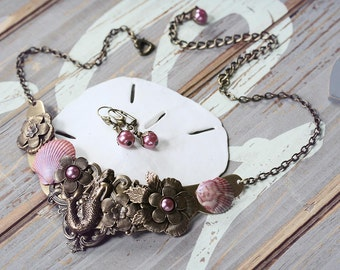 MERMAID GARDEN at SUNSET large statement vintage seashell mermaid fantasy necklace with matching earrings, ready to ship