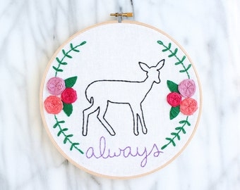 "hand embroidered Snape ""always"" hoop art with flowers and doe patronus in 8 inch wooden hoop"