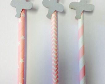Airplane Straws ~ Pink & Gray ~ Airplane Party ~ Airplane Decor