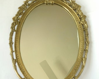 Large, Antique Solid Brass Framed Oval Wall Mirror French Art Nouveau Women's Face