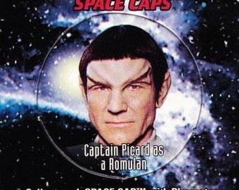 Vintage Star Trek The Next Generation Playmates Space Caps Trading Card 1994 Captain Picard As A Romulan No 24 - Paramount - USS Enterprise
