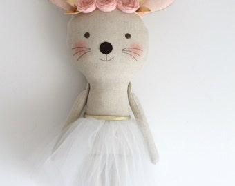MADE TO ORDER. Pink & Gold mouse ballerina in a white tutu. Stuffed animal mouse. Rag dolls. Nursery decor. Birthday gift idea.