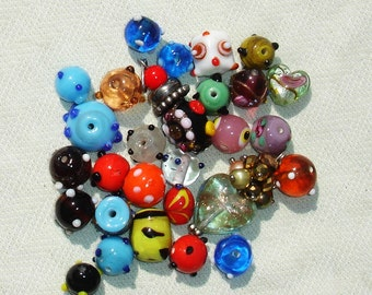 Colorful Glass Lampwork Bead Lot-  28 pcs - Jewelry Making Supplies