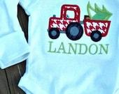 Christmas Tractor Monogrammed Onesie