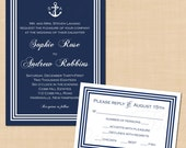 Nautical Navy White Stripes Invitation and RSVP Package with Anchor Monogram - Text-Editable in Microsoft® Word, Printable Instant Download