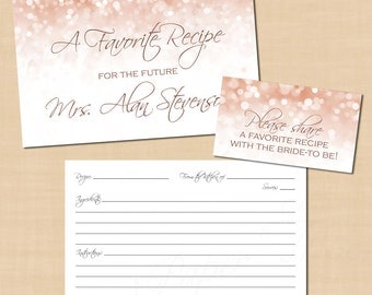 Rose Gold Sparkles Recipe Card; Bridal, Baby, Wedding Cooking Shower (6x4): Text-Editable in Word, Printable on Avery, Instant Download