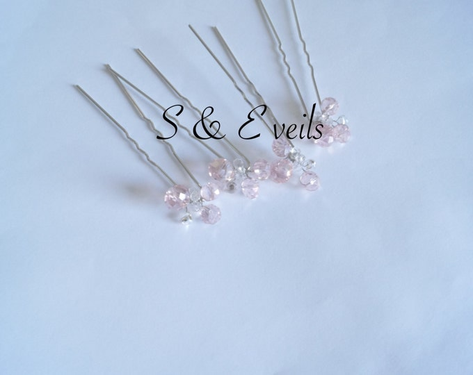 Hair pins with crystals, Hair Accessories, wedding veils (Veil Sold Separately)