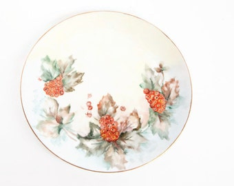 Vintage Hutschenreuther Selb Plate Bavaria Germany Artist Signed 1962 Hand Painted Gilded Porcelain Orange Poppies