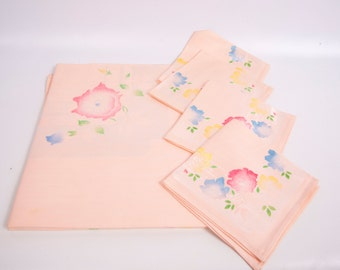 Vintage Hand Painted Pastel Roses Pink Damask Tablecloth 4 Matching Napkins Made in Japan 48 Inch Square