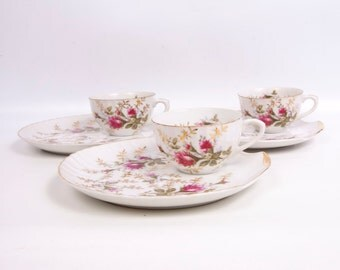 Vintage Rose Snack Set Tea cups Snack Plates Heavy Gold Accents Pink Rose Design Long Stem Roses Hand Painted Japan 6 Piece Set