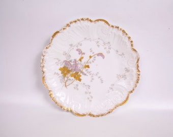 Vintage Lavender and Pink Plate Hand Painted Dessert Cake Plate Encrusted Gold Raised Paint Relief Porcelain
