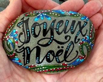 Joyeux Noel / Merry Christmas / Christmas decor / holiday art / painted rocks / painted stones / art on stone / french / love from cape cod