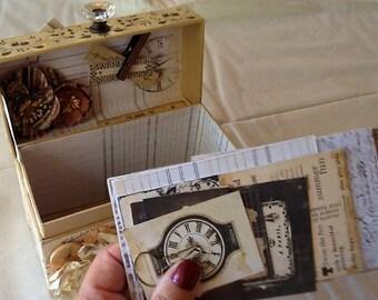 Altered Journal Box, Prima Engraver Box, Altered Vintage Type Recipe Box, Decorative Box, Mixed Media Journal Box, Altered Keepsake Box