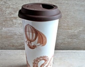 Large Steampunk Air Ship Octopus Travel Mug, Cephalopod Insulated Takeaway Cup, Ocean, Steam Travel, Eco, Green, 16 oz, Large coffee Cup