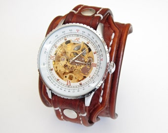 Vintage Men's Leather Watch, Folk Watch,  Bracelet Watch, Brown Beather Watch