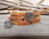 Dragon Sunset Bracelet Handmade Leather Wrap/ Sun Fire Jewelry/ Boho Indie Dragon Jewelry/ Japanese Power Stone/ orange yellow red gemstone