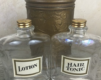 Vintage Tin and Bottles Hair Tonic Barber Shop Decor Gift Collectable Bottle and Metal tin set