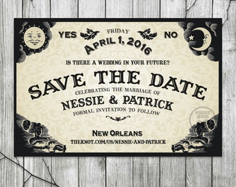 ouija board save the date for wedding halloween wedding invite til death do us - New Orleans Halloween Parties