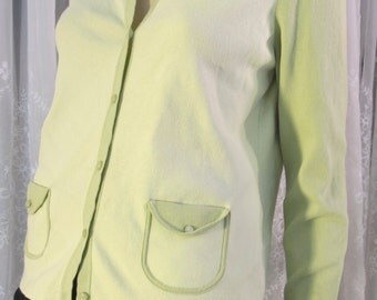 Vintage 90's Ann Taylor Loft lime green summer cardigan sweater with pockets size Large