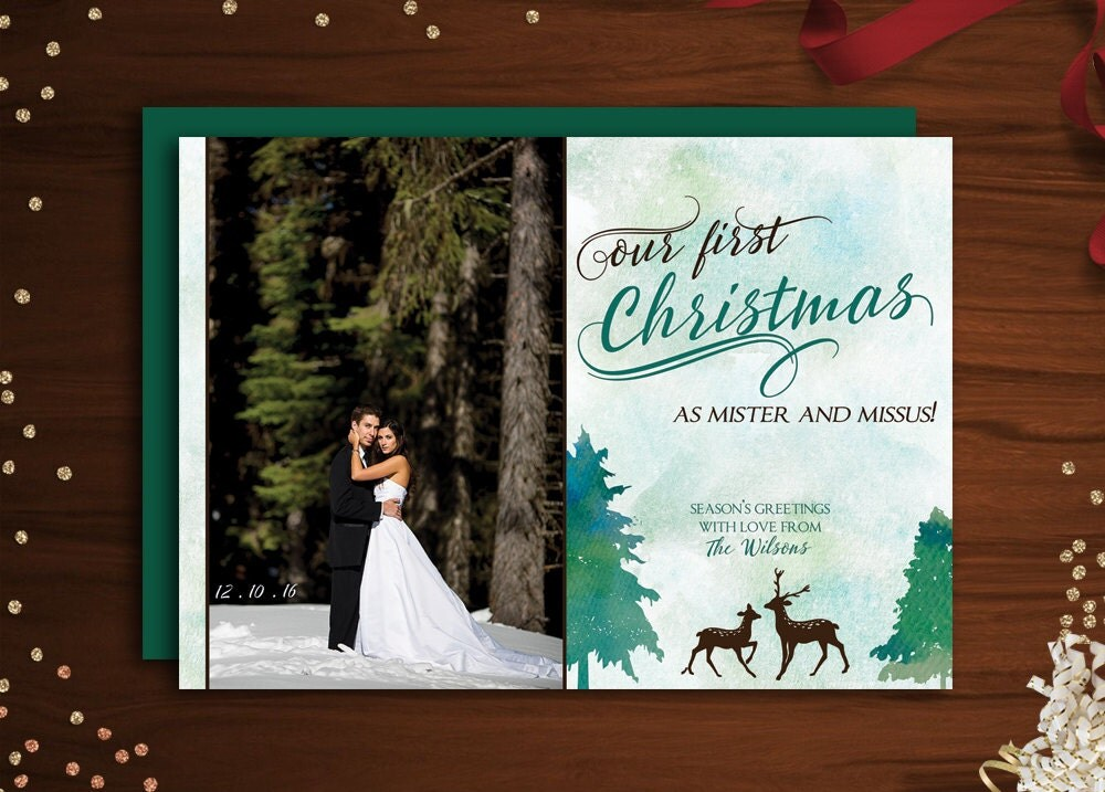 Wedding Photo Christmas card, Just Married Wedding holiday card, Our ...