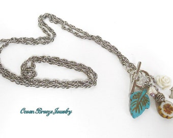 Lovely Toggle Charm Necklace with Czech Flowers,Turquoise Leaf and Carved Flower Charms