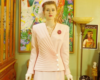 Vintage Lilli Ann Powder Pink Suit . California Couture . 80's does 40's . Fancy Pleated Jacket . Midi Skirt . Re-issue of 40's Original .
