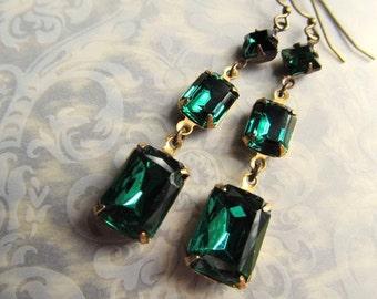 Art Deco Earrings Emerald Green Gothic Earrings Art Nouveau Earrings 1920s Earrings Green Crystal Earrings Green Dangle Earrings- Allure