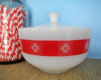 Federal Milkglass Milk Glass Red Picnic Checks Gingham Print Covered Casserole Bowl Dish
