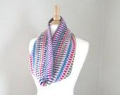 Crocheted Cowl Scarf, Striped, Women & Teen Girls, Western Boho, Crochet Scarf