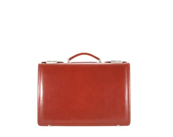 Leather men's briefcase suitcase ARON // brown, reddish (Italian calf leather) - FREE shipping