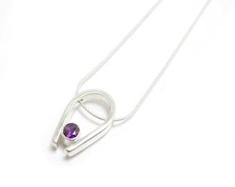 Simple Amethyst Pendant - Purple Amethyst Necklace - Unique Gem Pendant - Small Pendant - Purple Gemstone Pendant - February Birthstone