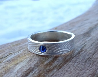 Sapphire Stacker Ring, 5mm band in Sterling Silver, Statement ring, Textured Wedding band, Alternative Wedding