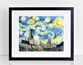 Hogwarts Starry Night Art Print || harry potter inspired, starry night, hogwarts, art print, wall art, original watercolor painting