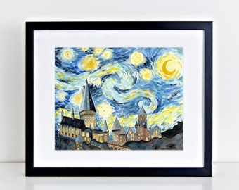 Hogwarts Starry Night Watercolor Art Print || harry potter inspired, starry night, hogwarts, art print, wall art, watercolor painting