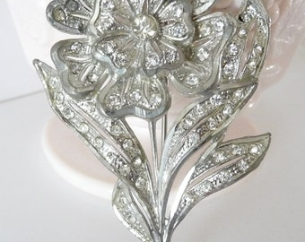 Large Pot Metal Flower Brooch Pin Vintage Costume Jewelry Clear Rhinestones
