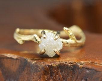 1.50 Carat Rough Diamond Engagement Ring